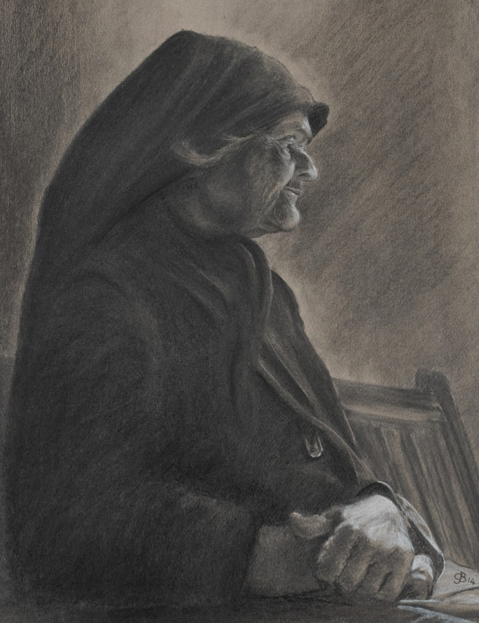 <p><em><strong>Old Eleni</strong></em> - Charcoal on paper - 45 x 35cms &pound;95.00</p>