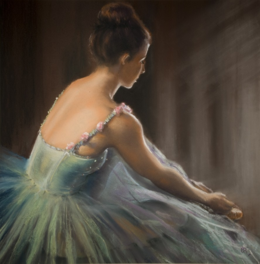 <p><strong><em>Waiting in the Wings </em></strong>Pastel over acrylic on Pastelmat 35cms x 34cms &pound;225.00</p>